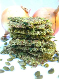 Savory Pumpkin Flaxseed Onion Crackers (plus more delish recipes on this blog)