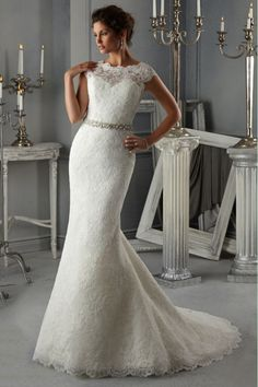 2014 Scoop Off The Shoulder Wedding Dress Trumpet With Beaded Sash And Applique Tulle USD 279.99 EPPACYPAMD - ElleProm.com