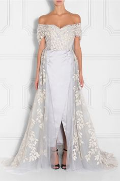 Embroidered Leaf Gown