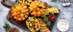 Whether it's a breakfast spread or a lunchtime soirée, this pineapple and spanspek fruit board is the perfect showpiece to present and deliver fresh healthy fruits. Chop and scoop these sweet, juicy fruits, to create this mouthwatering summer array. Fruit Recipes, Recipies, Juicy Fruit, Healthy Fruits, Platter, Pineapple, Fresh, Breakfast, Sweet