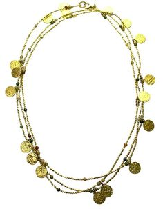 """60"""" jasper and gold plated coin Cleo Necklace."""