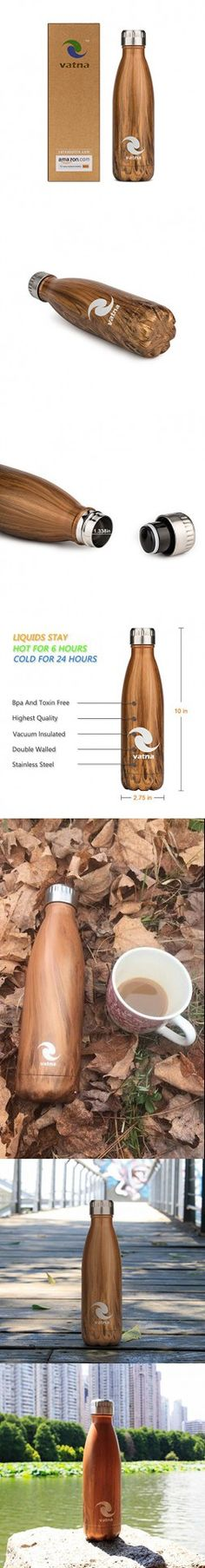 Vatna Insulated Bottle, Double Wall Vacuum insulation 18/8 Grade Stainless Steel Water Bottle, Cola Shape, Exquisite Packaging of A Vacuum Flask Bottle Wood Grain 17 oz /500 ml, BPA Free