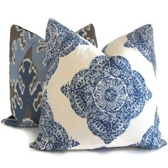 John Robshaw indigo and White Wood Block Decorative Pillow Cover  18x18, 20x20, 22x22, 14x20 or 12x24 on Etsy, $35.00