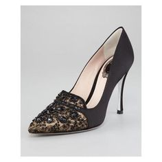Women's Rene Caovilla Bead-Embellished Satin Lace Pump