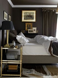 Elegant and Masculine. Design: Annie Brahler. Photo: Bjorn Wallander. housebeautiful.com. #bedroom #dark_walls #equestrian_prints