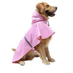 Fashion Dots Puppy Dog Raincoat Pet Adjustable Reflective Design Waterproof Rainwear Dress in Rainy Day Pink L -- You can find out more details at the link of the image.