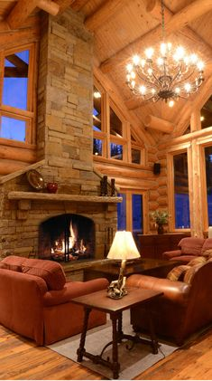 Log Home Great Room #log homes. Ryan loves volted ceilings with beams