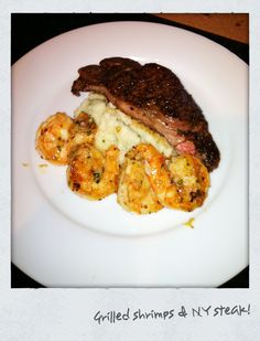 NY steak, Mesh potato, Grill shrimps Ny Steak, Healthy Foods, Healthy Recipes, Grilled Shrimp, Mashed Potatoes, Grilling, Pork, Mesh, Cooking Recipes
