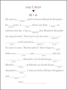 Modern Wedding Guest Book Wedding Day Mad Libs… This would be too much fun with my friends...