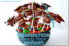 Graduation Cap Candy Pop Bouquet! Perfect Edible Deceoration from thatswhatchesaid.net  #graduation