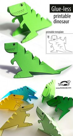 FREE printable glue-less dinosaur template - Mama was spielen. FREE printable glue-less dinosaur template – Mama was spielen wir heute – Kids Crafts, Toddler Crafts, Projects For Kids, Preschool Crafts, Toddler Toys, Dinosaurs Preschool, Dinosaur Activities, Activities For Kids, Dinosaur Crafts Kids