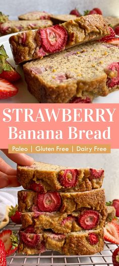 This healthy strawberry banana bread recipe is made with fresh strawberries and ripe bananas. It's an easy grain free bread recipe, Paleo, dairy free and only sweetened with fruit (no added sugar). #bananabread #paleobread #strawberrybanana #strawberrybread #grainfree Healthy Gluten Free Bread Recipe, Paleo Dairy, Gluten Free Snacks, Gluten Free Baking, Healthy Snacks, Dairy Free, Strawberry Banana Bread, Healthy Banana Bread, Banana Bread Recipes