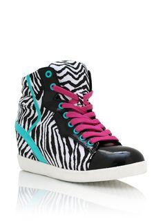 62b2aa5abeba88 Zebra Contrast Wedge Sneakers By Qupid