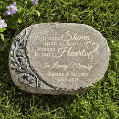 Send Your Light Shines Memorial Garden Stone and other personalized gifts at Personal Creations. Words Of Sympathy, Sympathy Gifts, Funeral Gifts, Funeral Poems, Grave Flowers, Cemetery Flowers, Memorial Gifts, Memorial Ideas, Memorial Plaques