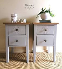These light grey solid timber bedside tables are painted with Fusion mineral paint, Pebble. Raised stencil added on top drawers and… Painted Bedside Tables, Walnut Bedside Table, Walnut Furniture, Painted Furniture, Bedroom Furniture, Bedside Drawers, Bedroom Styles, Bedroom Ideas, Yurts