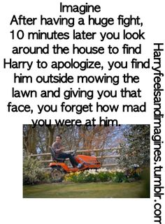 One Direction Imagines. Looks like he's mowing flowers to me