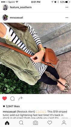 Stripes and olive cargo vest, Leopard flats