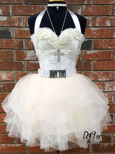 High Quality Madonna Like a Virgin Costume Outfit in Ivory Cream~ Madonna Bride Costume~ Boy Toy Belt~ Cross~ White Bachelorette Party Dress