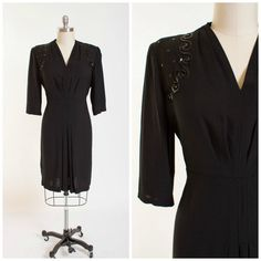 Vintage 40s Evening Dress Black Rayon 1940s by stutterinmama