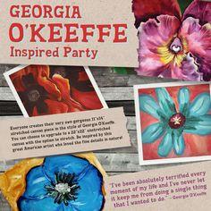 Georgia O'Keeffe art Georgia O Keeffe, Paint Party, Craft Party, Teaching Art, American Artists, Elementary Schools, Art Lessons, Art Projects, Art Ideas