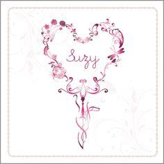 Geboortekaartje Suzy www.hetuilennestje.nl Romantisch, roze, wit, bloemen, ornamenten.