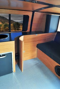 Campervan Interior, wooden finish.