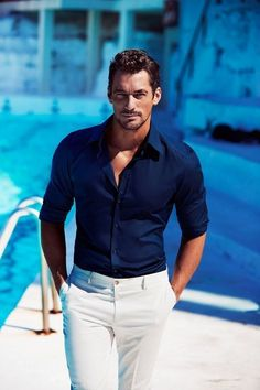 "ohmygandy: ""HQ New - David Gandy for Dolce & Gabbana Light Blue "" David Gandy, White Pants Men, Stylish Men, Men Casual, Formal Men Outfit, Herren Style, Navy Blue Shirts, Herren Outfit, Gentleman Style"