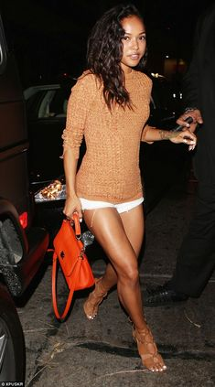 Perfect pins: The 26-year-old beauty's outfit made the most of her great legs...