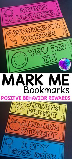 Mark Me Bookmarks are a great way to reward students for their good behavior. The positive reinforcement given by these INK SAVING bookmarks will motivate and encourage good behavior in all students. Minimum preparation, yet maximum results!