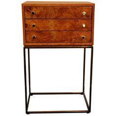 milo baughman geometric bamboo and chrometwo drawer commode