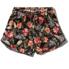 Abercrombie & Fitch Floral Pattern Drapey Shorts (5.990 CLP) ❤ liked on Polyvore featuring shorts, bottoms, short, black floral, floral shorts, flower print shorts, drapey shorts, short shorts and floral print shorts
