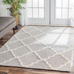 Dining Rm. $313. Hand-Hooked Alexa Moroccan Trellis Petit-Point Wool Rug (8'6 x 11'6)