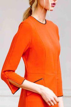 Jewel Neck Bracelet Length Sleeve A Line Dress with Flap Pockets and S | Isoude