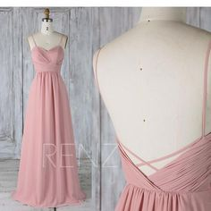 Bridesmaid Dress Dusty Rose Chiffon Low V Back Wedding Dress,Spaghetti Straps Sweetheart Maxi Dress,A Line Prom Dress Full Length(L317)