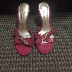 "Pink slip on heels WORN ONCE. Pink snake skin print heels with gold embellishment. 2"" heels. Shoes"