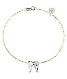 Bransoletka Minty dot srebrna złocona skrzydła anioła