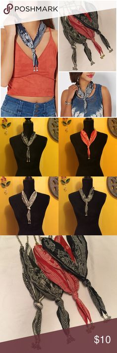 """New Bandanna drop necklace To cute and no need to tie it on because it's a necklace !!! 19""""-23"""" in length with center dangle measuring  4.5"""" Comes in White with black, silver hardware.    Navy blue with white, silver hardware.    Red with white, gold hardware.  Washed out black with white, silver hardware. Rue 21 Jewelry Necklaces"""