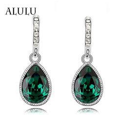 Fashion Green Main Color Drop Earrings female Silver Plated Crystal Long Earring For Women Rhinestone Drop Earrings brincos -- To view further for this item, visit the image link.