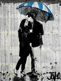 "Saatchi Art Artist LOUI JOVER; Drawing, ""umbrella blue"" #art"
