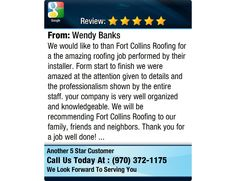 We would like to than Fort Collins Roofing for a the amazing roofing job performed by...