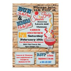 Rustic BBQ Couples Baby Shower Invitations