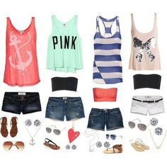 Cute summer outfits. I love the shirts shoes and accessories!!!!:) Id where tank tops underneath though. find more women fashion ideas on www.misspool.com