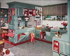 1950's kitchen // Paint the cabinets (not a bright colour!) and add some open shelving above the fridge to finish it off.