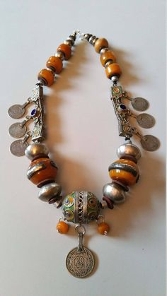 Berber Moroccan faux simulated amber and silver enamel coin Coin Pendant Necklace, Tribal Necklace, Tribal Jewelry, Boho Jewelry, Beaded Jewelry, Vintage Jewelry, Handmade Jewelry, Beaded Necklace, Jewelry Design