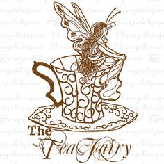 The Tea Fairy Fairies Wings Teacup Tea cup Digital Image Download Sheet Transfer To Pillows Totes Tea Towels Burlap No. 2419 SEPIA
