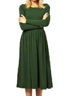 Shop Green Long Sleeve High Waist Dress from choies.com