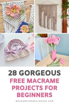 Discover 28 beginner-friendly and FREE Macrame projects to learn new knots and patterns from our talented team of featured Macrame teachers! Recently we celebrated the one-year anniversary of our website macrameforbeginners.com and today we're cheering for the fact that our wonderful Macrame for Beginners Facebook Group just reached 28k members! #macrame #macramepatterns #craft #diy Macrame Supplies, Macrame Projects, Hanging Flower Wall, Large Macrame Wall Hanging, Free Macrame Patterns, Rainbow Nursery, Knots, Projects To Try, Middle