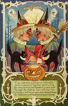 Halloween wreath Doing this! This is a must this Halloween! Vintage Halloween Postcard outside decorations - Hallowe. Retro Halloween, Halloween Fotos, Vintage Halloween Images, Halloween Clipart, Halloween Cat, Vintage Holiday, Holidays Halloween, Happy Halloween, Halloween Pictures