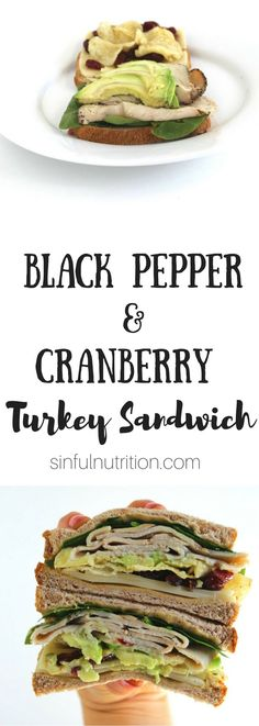 Black Pepper and Cranberry Turkey Sandwich Recipe — Spicy black pepper turkey, dried cranberries,  hummus, and even chips are the best thing to happen to sliced bread! | AD @sinfulnutrition thereciperedux @sabra
