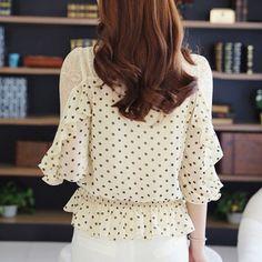 2015 nova malha meia manga feminino chiffon dot camisa personalizada senhoras de renda blusas C022 em Blusas de Roupas e Acessórios Femininos não AliExpress.com | Alibaba Group